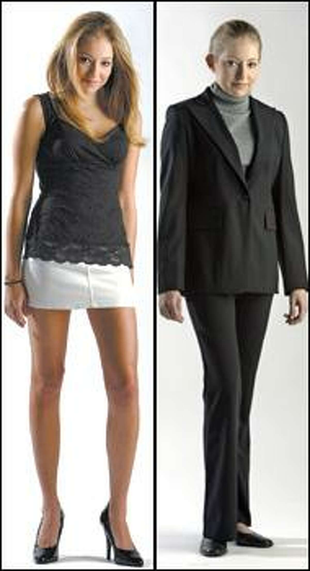 At left is an example of sexy attire that is not suitable in the workplace. A business suit is more appropriate, a study shows.