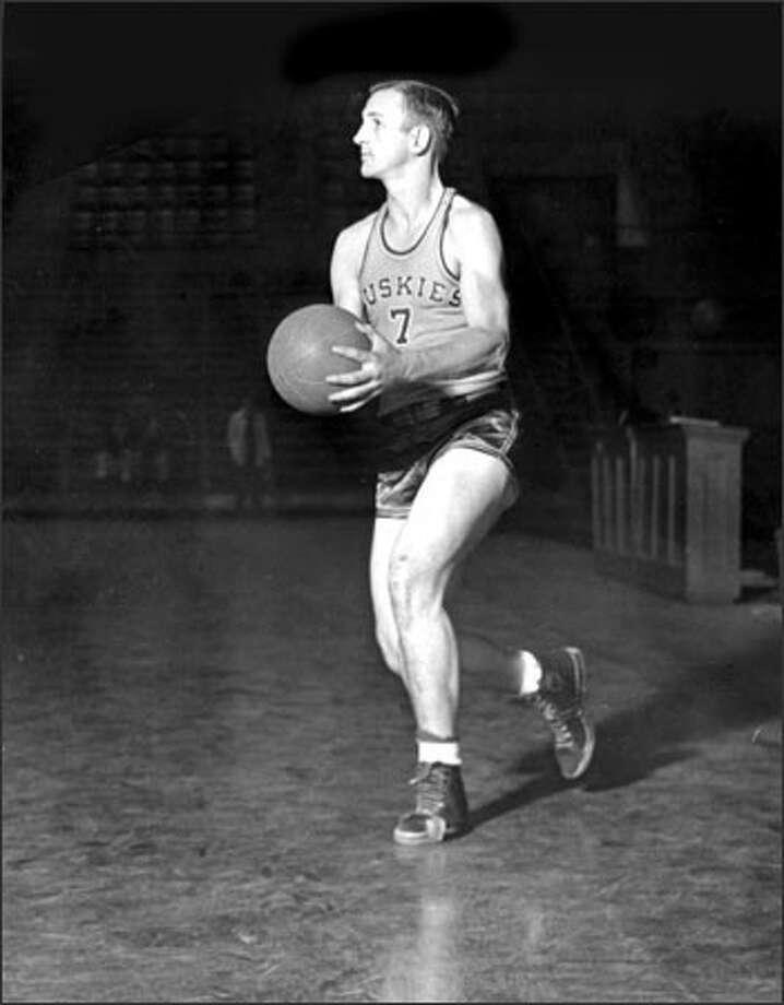 "Merlin ""Boody"" Gilbertson was a junior starter on the Huskies' first NCAA Tournament team in 1943. Photo: /University Of Washington"