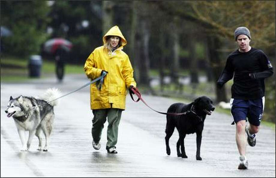John Kirkpatrick passes Carol Berberian as she walks Jane, left, and Moses around Green Lake. Berberian, who moved here in 1983, doesn't let rain change her routine. Photo: Jim Bryant/Seattle Post-Intelligencer