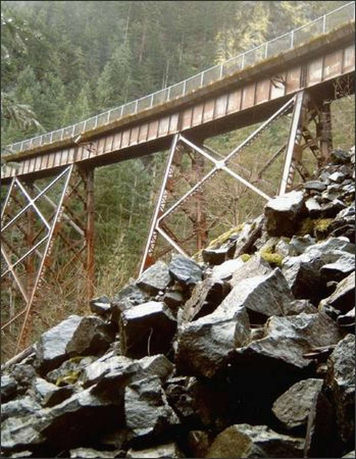 The Change Creek trestle, seen from the Change Creek climbers trail, also is accessible from the Iron Horse Trail.