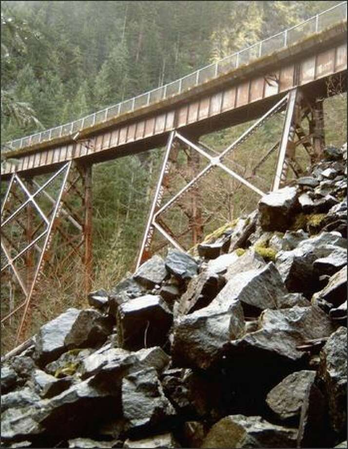 The Change Creek trestle, seen from the Change Creek climbers trail, also is accessible from the Iron Horse Trail. Photo: KAREN SYKES