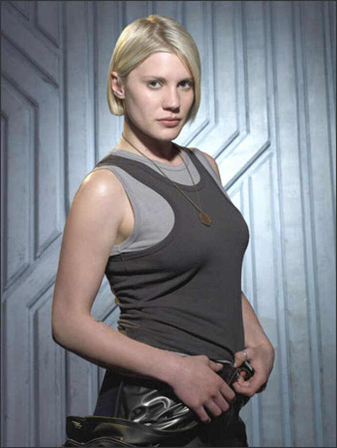 Starbuck (Katee Sackhoff) isn't your typical TV sex symbol. Photo: /Sci-Fi Channel / Caption -
