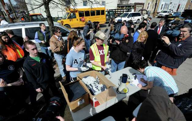 University at Albany students gather for a cleanup of parts of  Albany, New York, on March 18, 2011. (Skip Dickstein / Times Union) Photo: Skip Dickstein
