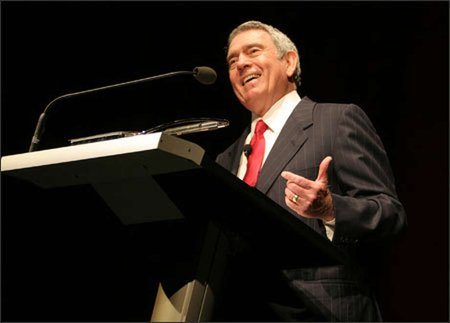 "Dan Rather speaks to a full house at McCaw Hall. The veteran CBS News reporter and anchor urged Tuesday night's audience to demand serious news reporting and said reporters must ""speak truth to power."" Photo: Meryl Schenker/Seattle Post-Intelligencer"