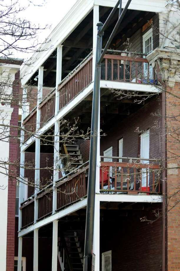 View of third-floor porch at 390 Madison Ave. where an accident occurred on Friday, March 18, 2011, in Albany, N.Y. (Cindy Schultz / Times Union) Photo: Cindy Schultz