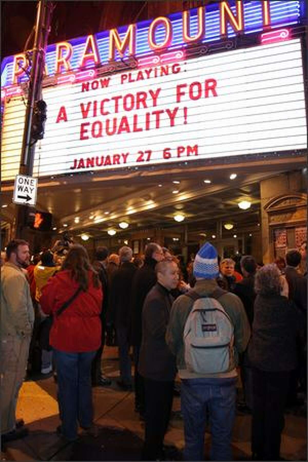 The Paramount Theatre was the scene of a celebration Friday over passage of an anti-discrimination bill.