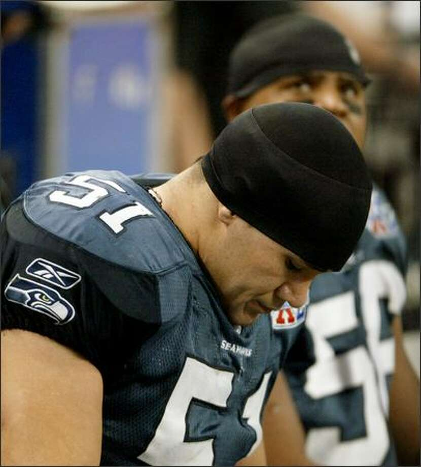 Seahawks rookie linebacker Lofa Tatupu reacts in the final moments of the Super Bowl loss Sunday. Photo: DAN DELONG/P-I