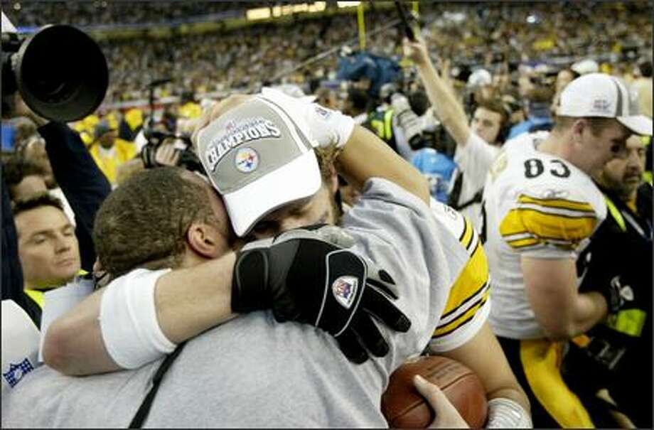 Ben Roethlisberger hung his head after the worst statistical outing of his career, but the 23-year-old's tears turned to smiles in the middle of the Steelers' celebration. Photo: DAN DELONG/P-I