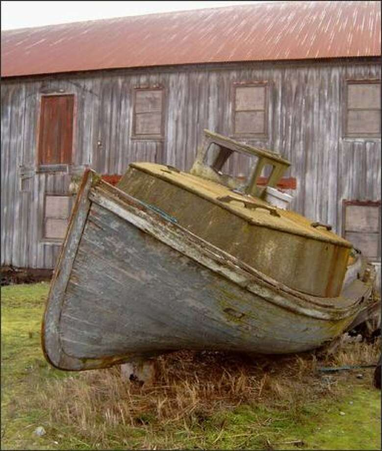 A walk along the beach on Semiahmoo Spit will reveal contrasts between old and new, the natural and man-made, such as this long-abandoned boat and building. The spit is also a bird-watcher's paradise. Photo: KAREN SYKES