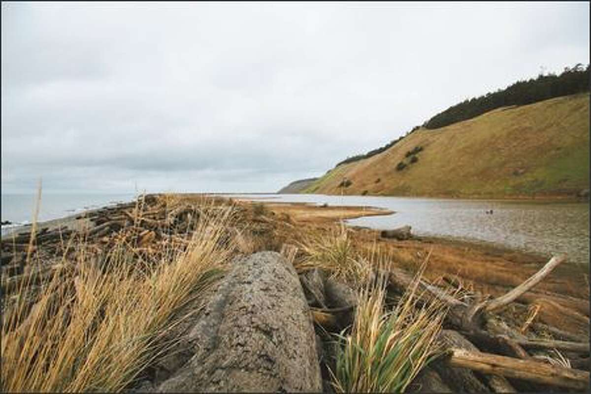 The hike north from historic Ebey's Landing on Whidbey Island follows the shore of Admiralty Inlet and passes Perego's Lagoon, at right.