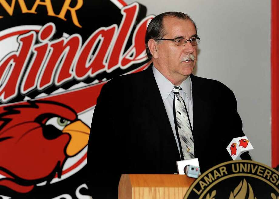 Larry Tidwell fields question from reporters Monday after announcing Steve Roccaforte has recently been fire as Lamar's basketball coach. Roccaforte's contract will be upheld and the school will begin a search for a new coach. Guiseppe Barranco/The Enterprise Photo: GUISEPPE          BARRANCO / Beaumont