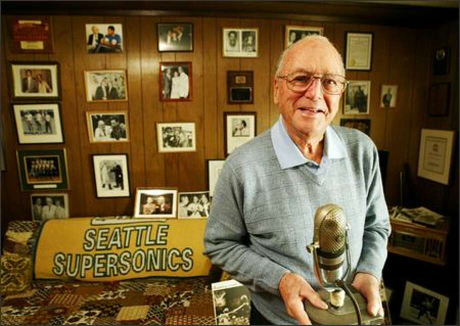 Bob Blackburn, 81, counts the 1979 championship as the highlight of his 25-year stretch behind the microphone for the Sonics. He was replaced by Kevin Calabro in 1992. Photo: Scott Eklund/Seattle Post-Intelligencer