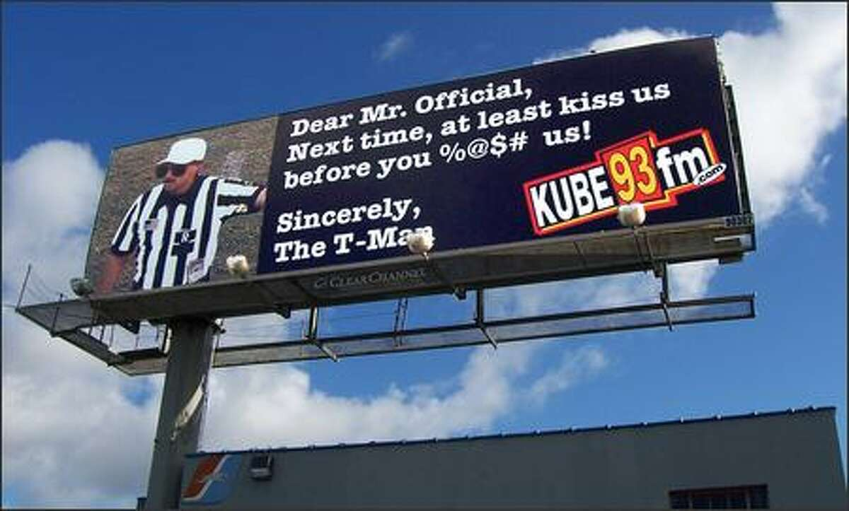 This billboard message, at the corner of Denny Way and Pontius Avenue, was put up after the Seahawks' loss to the Pittsburgh Steelers in Super Bowl XL, Feb. 5, 2006.