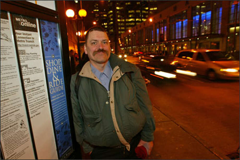 Tim Allen, a security guard who works downtown for $24,000 a year, has little sympathy for luxury condo developers who say they can't afford the city's proposed building fee that would support low-income housing downtown. Photo: Grant M. Haller/Seattle Post-Intelligencer