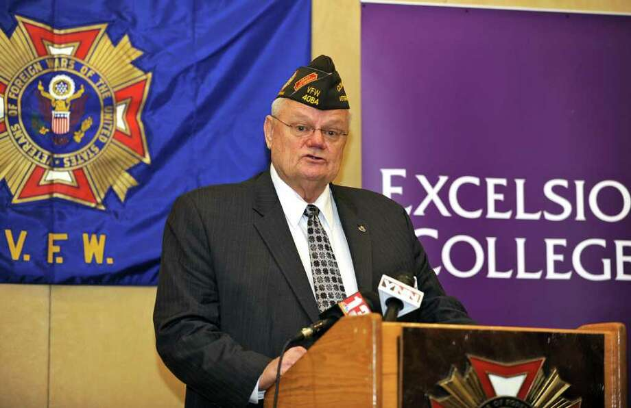 Richard Eubank, Commander-In -Chief VFW talks, during a press conference, about NY Veterans of Foreign Wars announcing statewide education strategy to reach new, younger members and boost membership ranks., NY on March 18, 2011. (Lori Van Buren / Times Union) Photo: Lori Van Buren