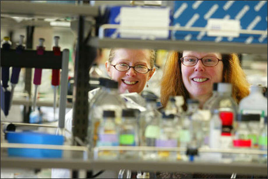 "Dr. Mary ""Nora"" Disis, right, and researcher Vivian Goodell are trying to develop a cancer vaccine that would work like immunizations against infectious diseases. Photo: Paul Joseph Brown/Seattle Post-Intelligencer"