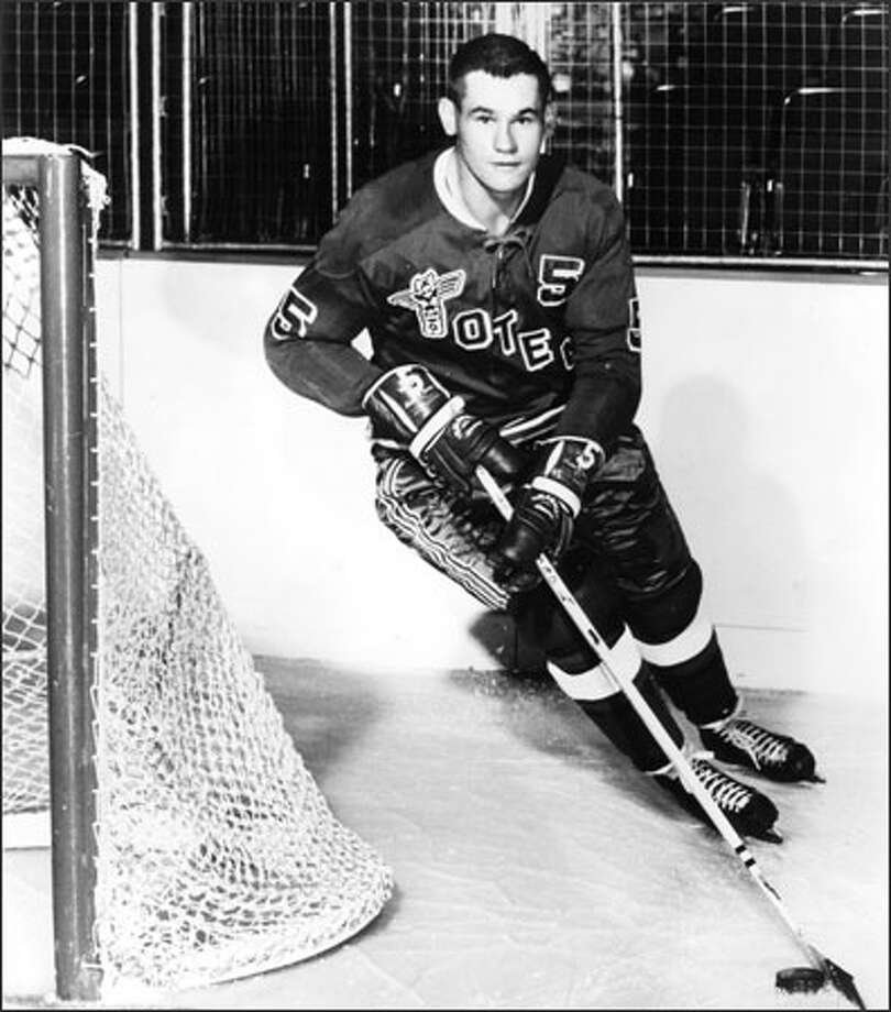 Defenseman Don Ward played 11 seasons with the Seattle Totems, netting 32 goals, 150 assists and a club-high 1,110 penalty minutes. Photo: /Seattle Post-Intelligencer