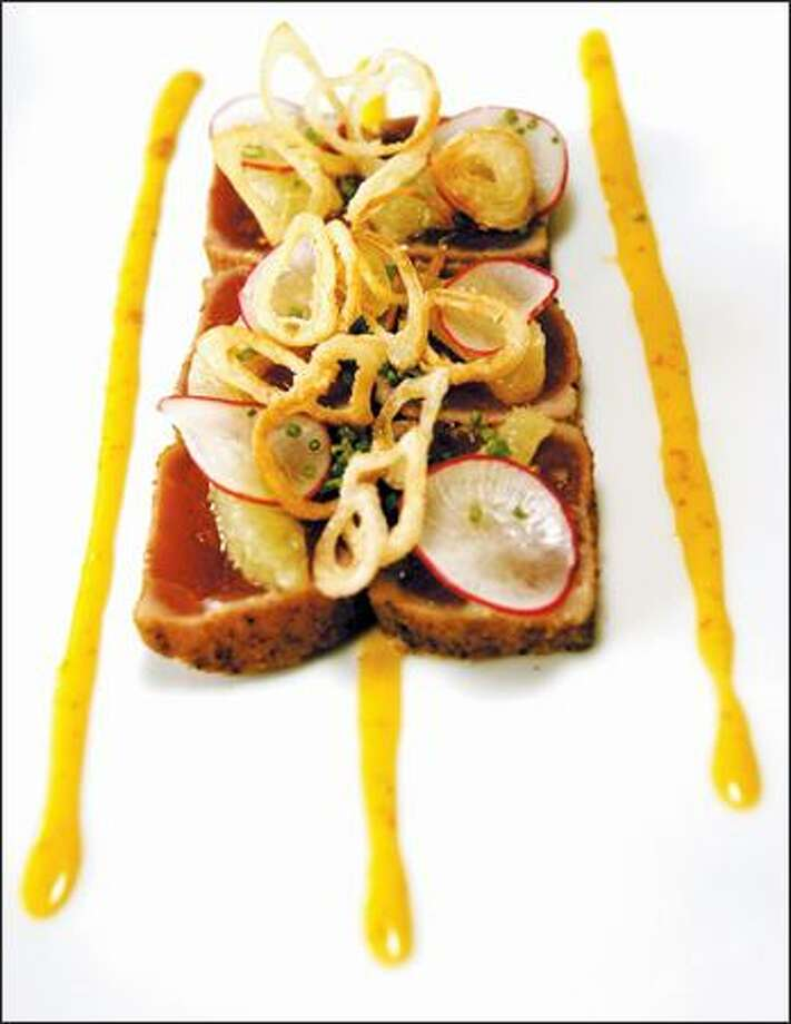 Spice-crusted ahi is served with uni mayonnaise, radishes, citrus and crispy shallots. Photo: Grant M. Haller/Seattle Post-Intelligencer
