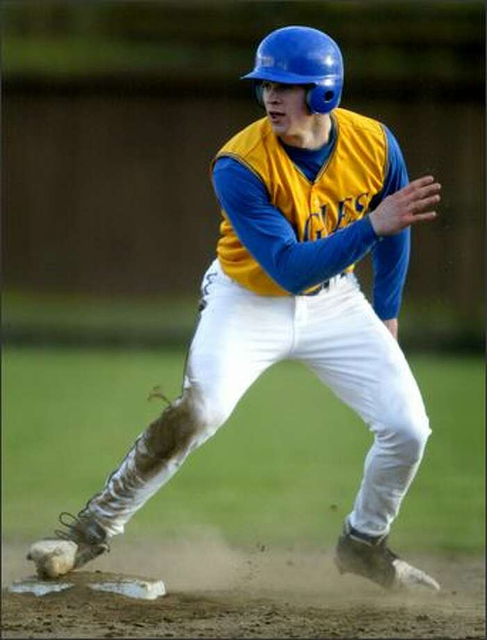 Jake Locker went 2-for-3, scored twice and stole a base as Ferndale's leadoff hitter in the first game of his senior season. Photo: Joshua Trujillo/Seattle Post-Intelligencer