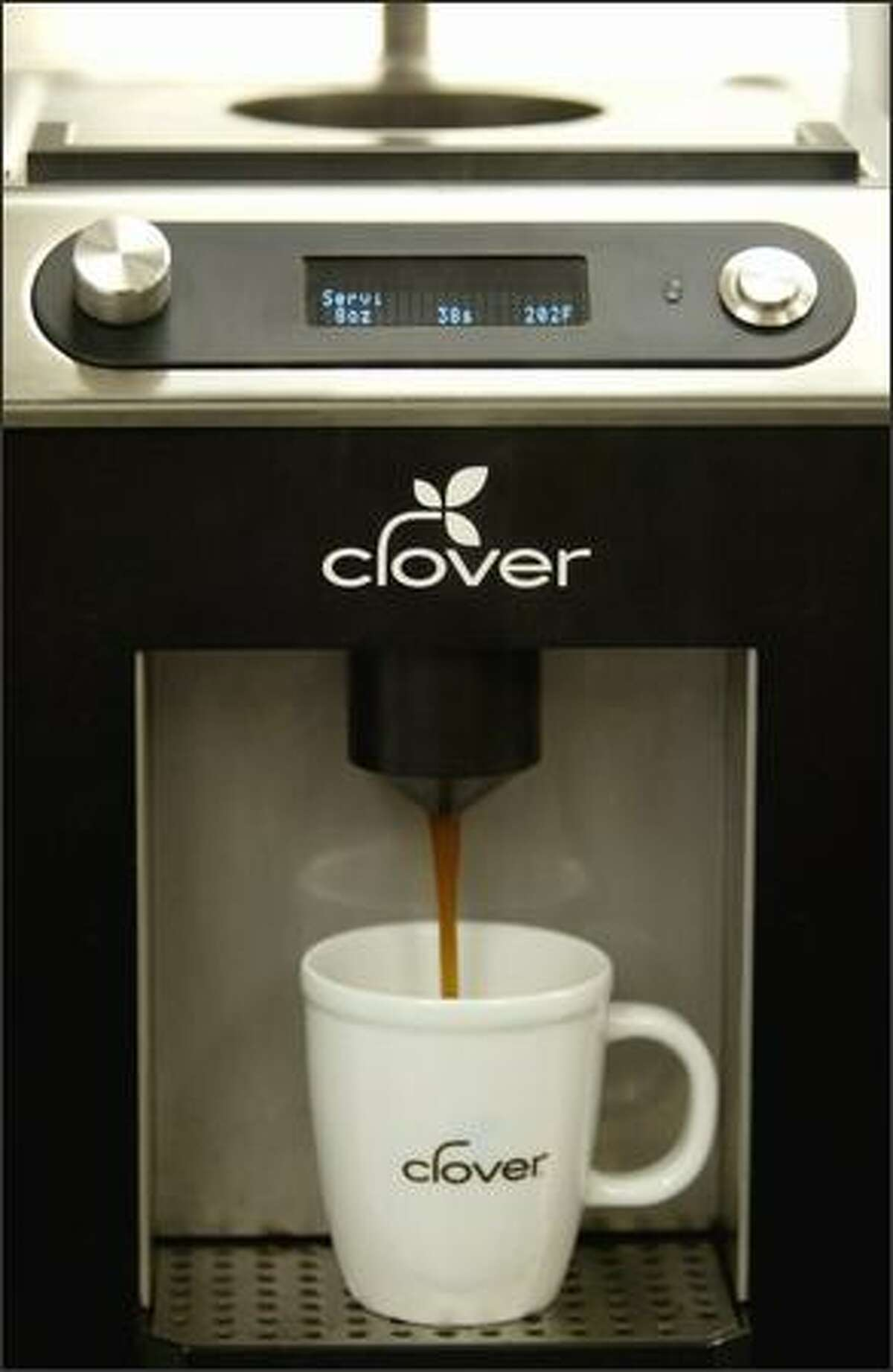 A Clover coffee maker brews a cup of drip at The Coffee Equipment Co.