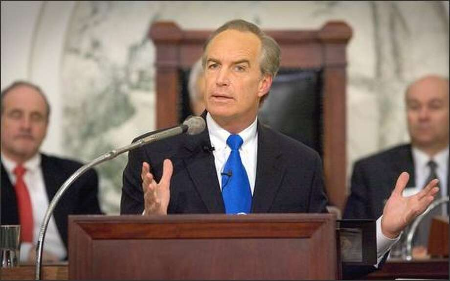 Idaho Gov. Dirk Kempthorne, shown in this file photo giving his annual State of the State address, was chosen by President Bush to be Interior secretary. Photo: / Associated Press