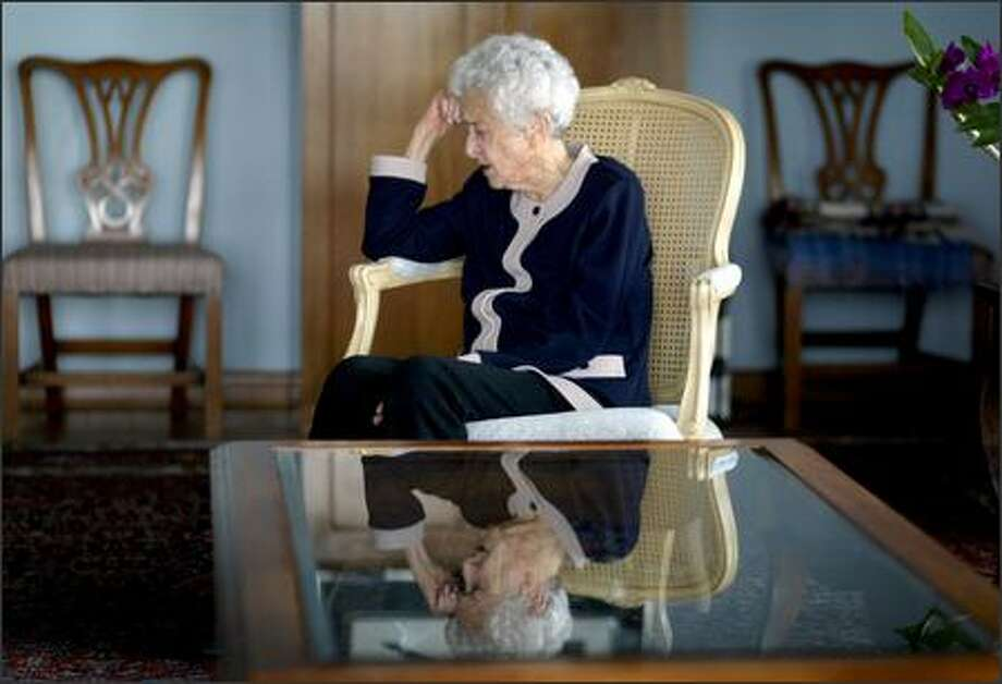 Eleanor Hadley reflects on her remarkable life in her Normandy Park home. She will get the Japan-America Society's Foley Award. Photo: Joshua Trujillo/Seattle Post-Intelligencer