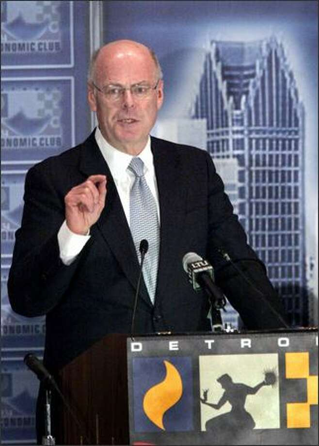 "Robert S. ""Steve"" Miller, the chairman and chief executive of Delphi Corp., addresses the Detroit Economic Club in Detroit, on Monday. Photo: ASSOCIATED PRESS"