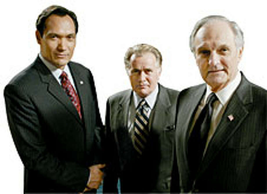 "Presidential timber: Jimmy Smits, Martin Sheen and Alan Alda from ""West Wing."""