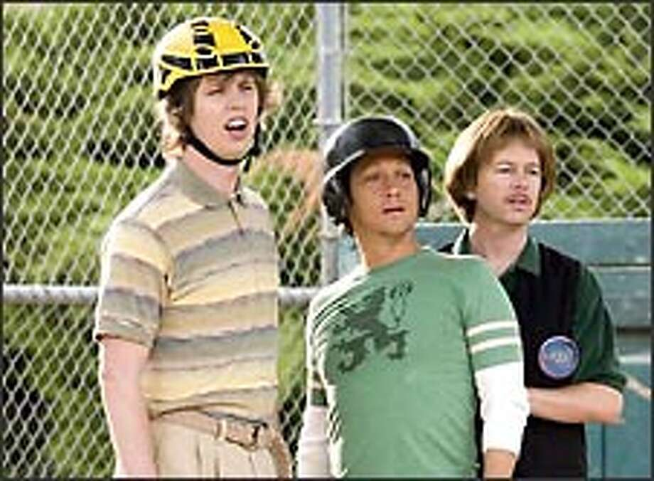 "Jon Heder, Rob Schneider and David Spade in ""The Benchwarmers."""