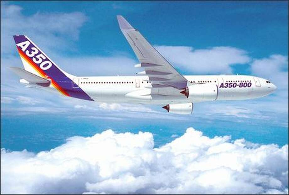 The Airbus A350 passenger jet, shown in an artist's rendition, was designed to rival The Boeing Co.'s 787 Dreamliner but has been lagging in sales. The plane is based on Airbus' existing A330, but with a new tail and 90 percent new parts. Photo: / Associated Press