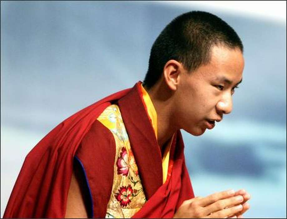 Panchen Lama delivered a 10-minute speech at the World Buddhist Forum. Photo: / Associated Press