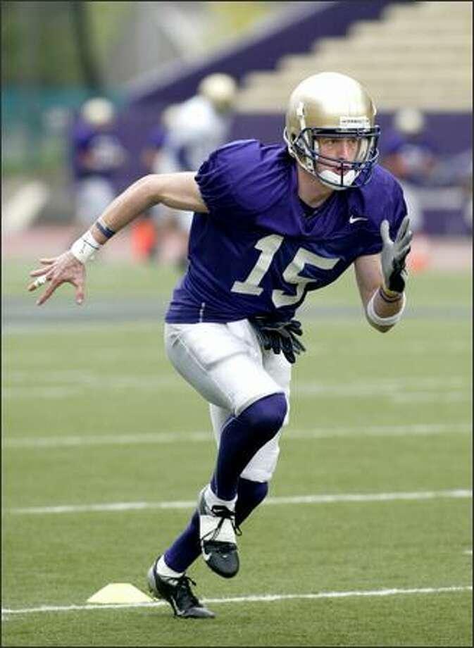 Wide receiver Alex Mercier walked on at Oregon, and then played at Pasadena City College before walking on at Washington. Photo: Scott Eklund/Seattle Post-Intelligencer