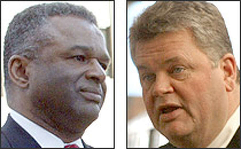 County Executive Ron Sims, Mayor Greg Nickels both get high marks. Photo: P-I FILE