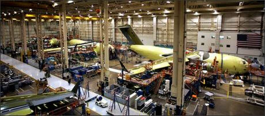 Workers still make the C-17 at Boeing's plant in Long Beach, but there are no new orders for the plane in the '07 U.S. military budget. Photo: /Associated Press