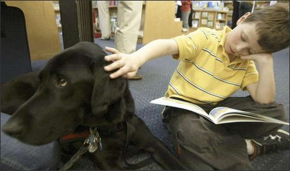 """Cole Weinstein, 7, of Kirkland, reads to Pete, a 2 1/2-year-old black lab, as part of """"Reading With Rover"""" at the Bellevue Barnes & Noble."""