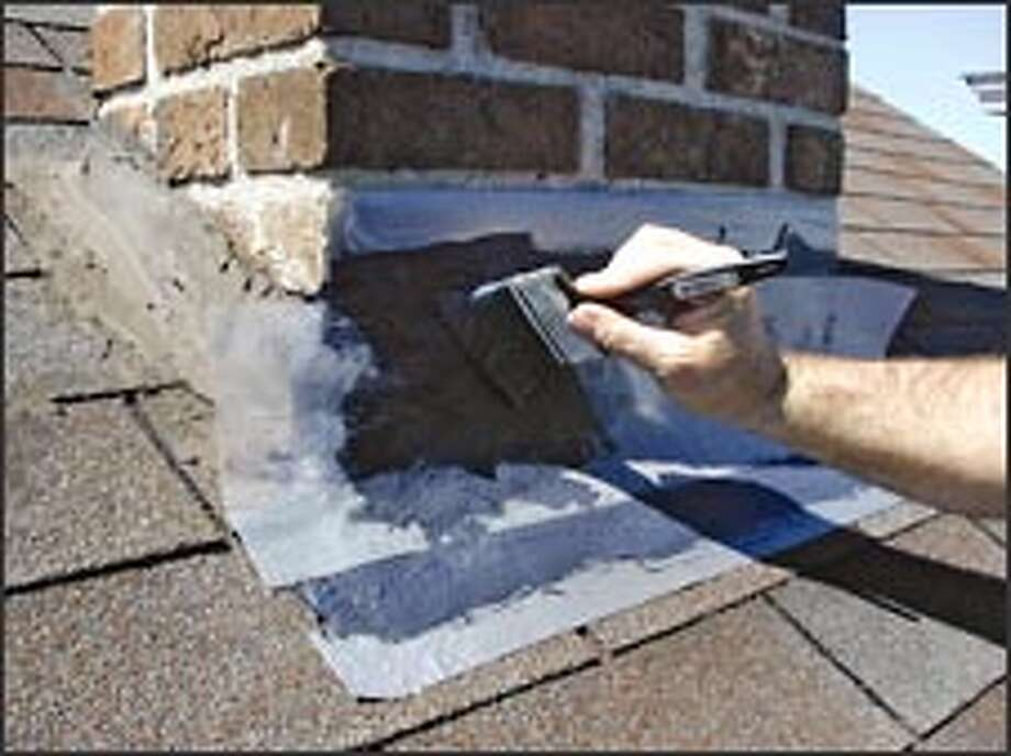 This patch system seals flashing around the base of the chimney. Photo: SAVERSYSTEMS