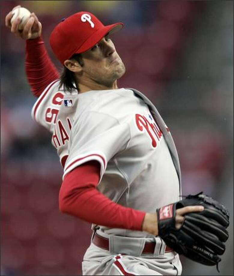 San Diego native Cole Hamels struck out boyhood idol Ken Griffey Jr. twice, fanning seven total for Philadelphia. Photo: / Associated Press