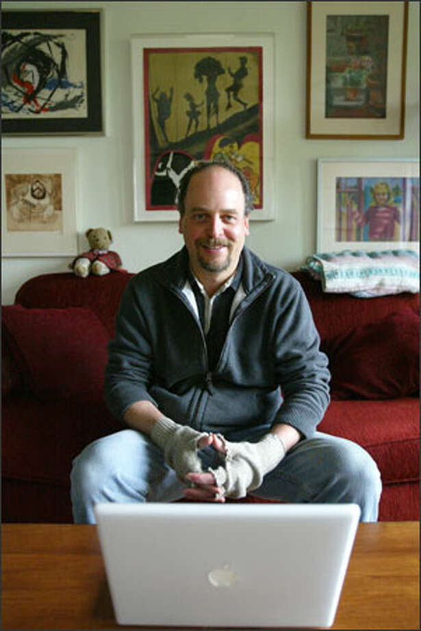 David Goldstein runs the liberal horsesass.org from his home in Seward Park. Goldstein started the blog as part of his satirical initiative campaign against tax-cutting guru Tim Eyman. Photo: Paul Joseph Brown/Seattle Post-Intelligencer