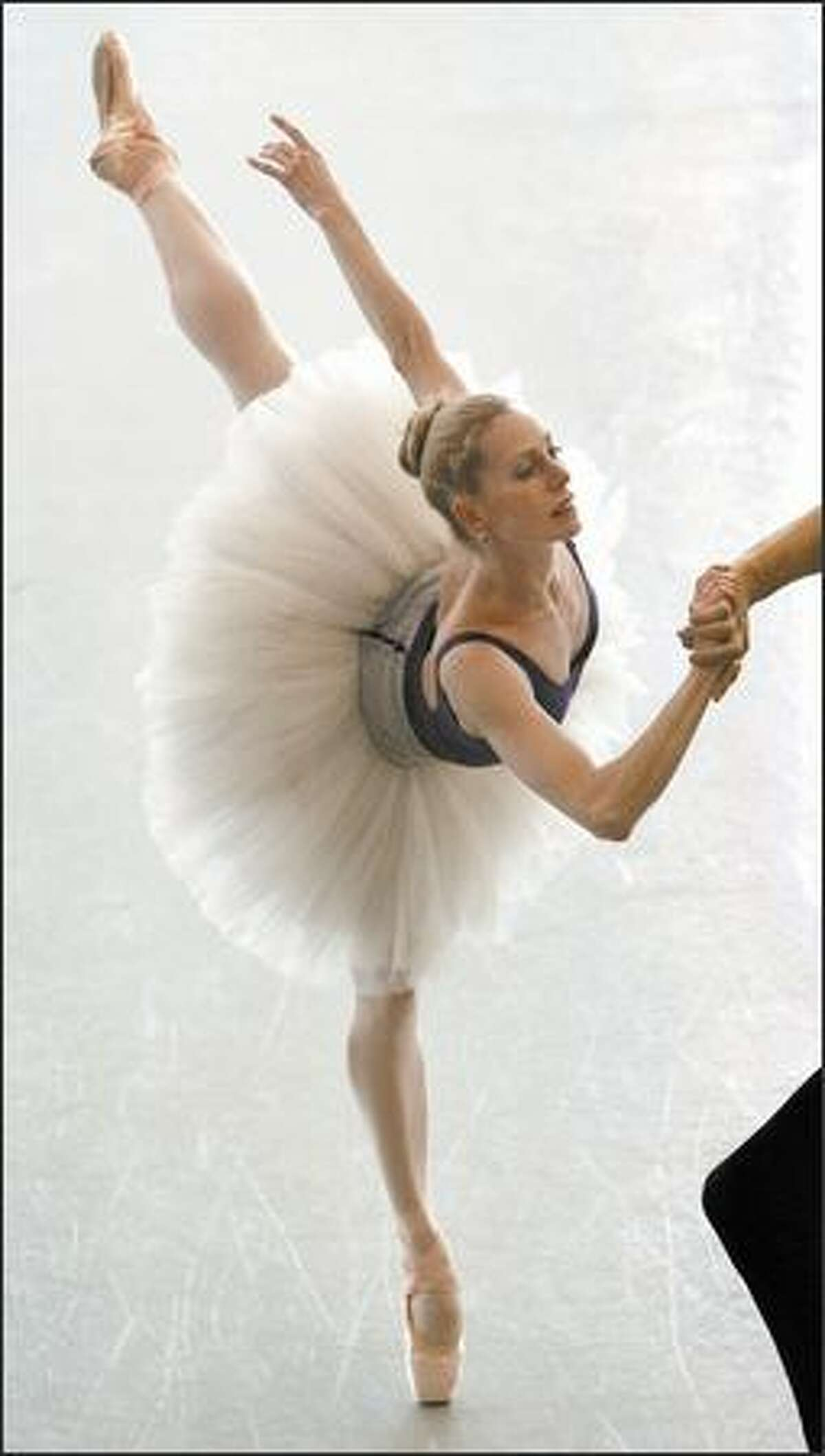 """Patricia Barker, longtime principal dancer at Pacific Northwest Ballet, rehearses Balanchine's """"Jewels"""" with Stanko Milov. She is retiring after more than 25 years at PNB."""