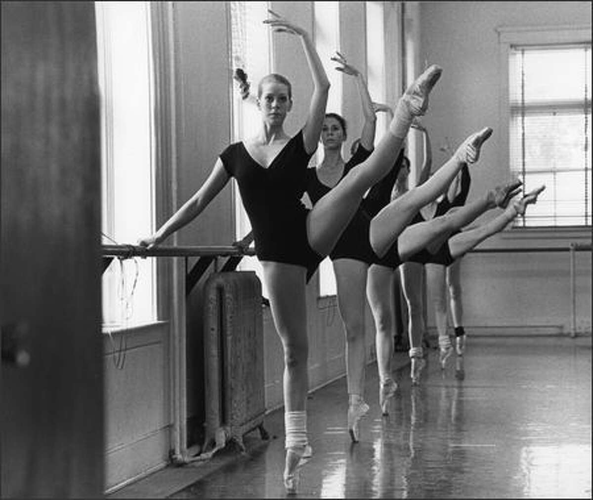 Patricia Barker, foreground, was a top student in advance classes of Pacific Northwest Ballet School in 1980.