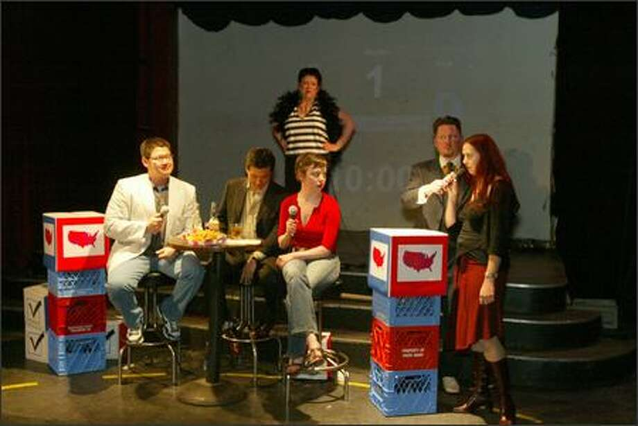 """The cast of the mock game show """"Swing Vote"""" debates politics during a live taping at Re-bar. Photo: Grant M. Haller/Seattle Post-Intelligencer"""