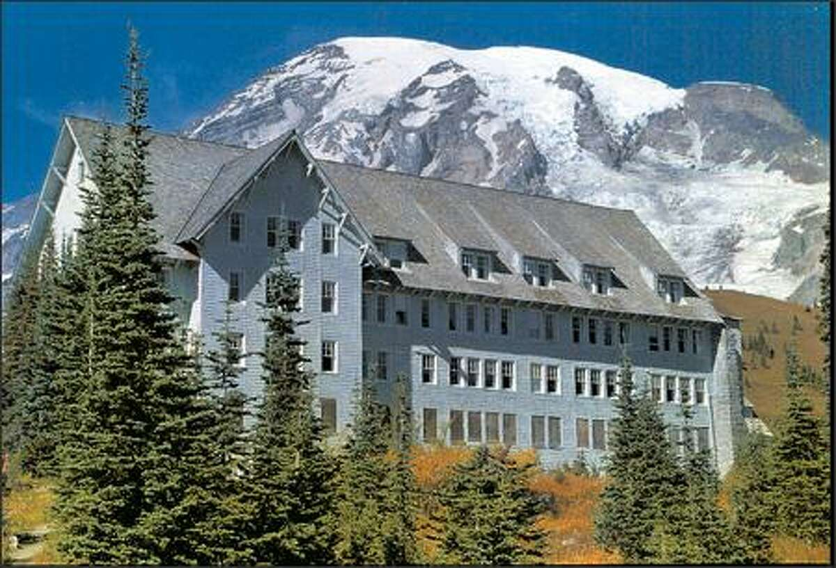 Paradise Inn (with Mount Rainier in the background) is one of Washington's premier tourism destinations.  Mount Rainier and Olympic national parks are two (of 17) popular national parks where the Trump administration wants to charge an entrance fee of $70 per carload.