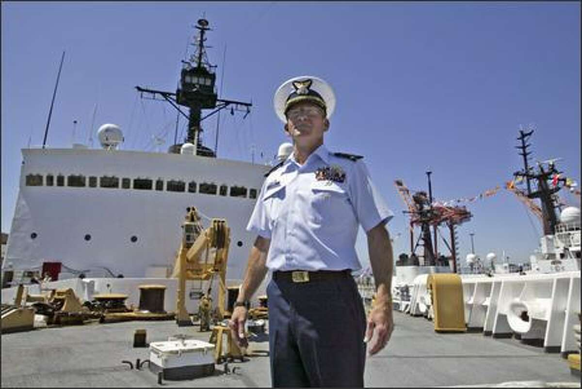 Capt. Ken Stuber stands on the deck of the Polar Star Friday at Pier 36, where the icebreaker has been retired until further notice.
