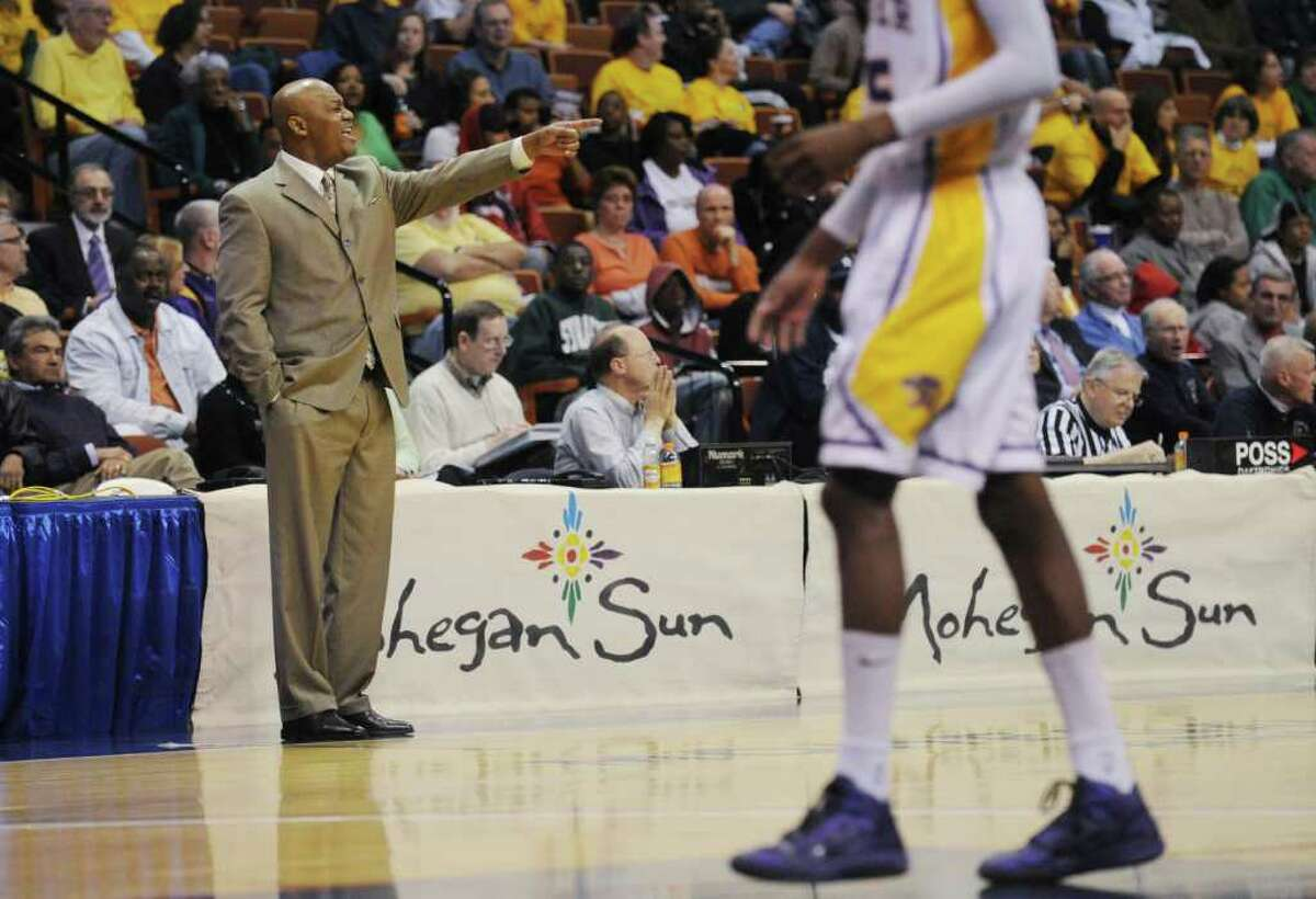 Career Magnet head coach Larry Kelley against Trinity Catholic in the Class M boys basketball state championship game at Mohegan Sun Arena in Uncasville, Conn., March 19, 2011.