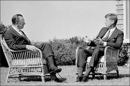 It was a different time -- September 1963 -- and when a journalist interviewed the American president it wasn't a shirtsleeve encounter, no matter the setting. The event was CBS newsman Walter Cronkite's Labor Day chat with President John Kennedy on Cape Cod -- about 12 weeks before Kennedy's assassination. Photo: AP FILE