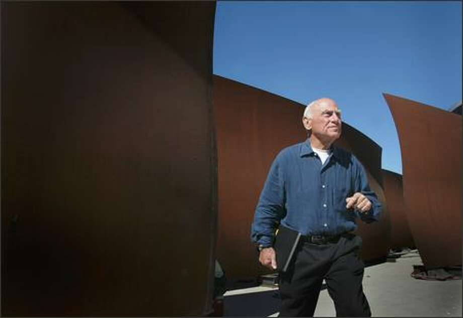 """A machine that was used to manufacture parts for nuclear submarines was needed to make the pieces in """"Wake,"""" the sculptures that Richard Serra made for Seattle Art Museum's Olympic Sculpture Park. Photo: JOSHUA TRUJILLO/P-I"""
