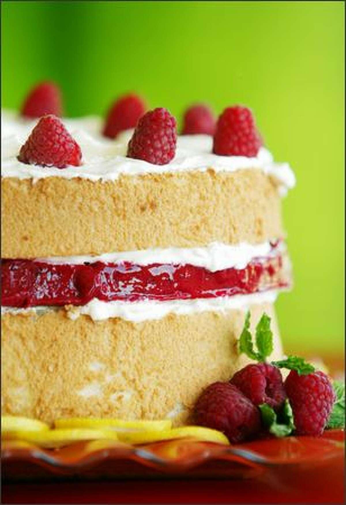 Raspberry sorbet layered in a lemon-ginger angel food cake.