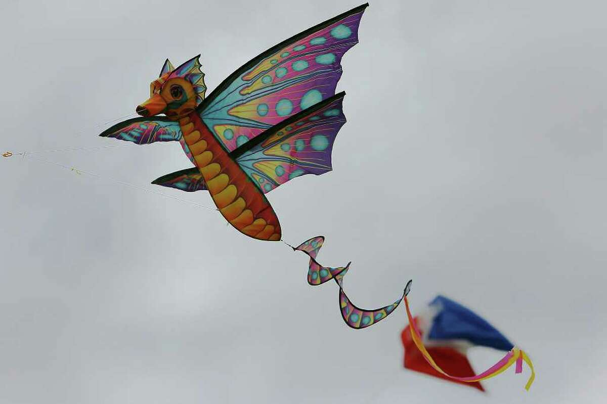 One of several colorful kites that dotted the sky at the
