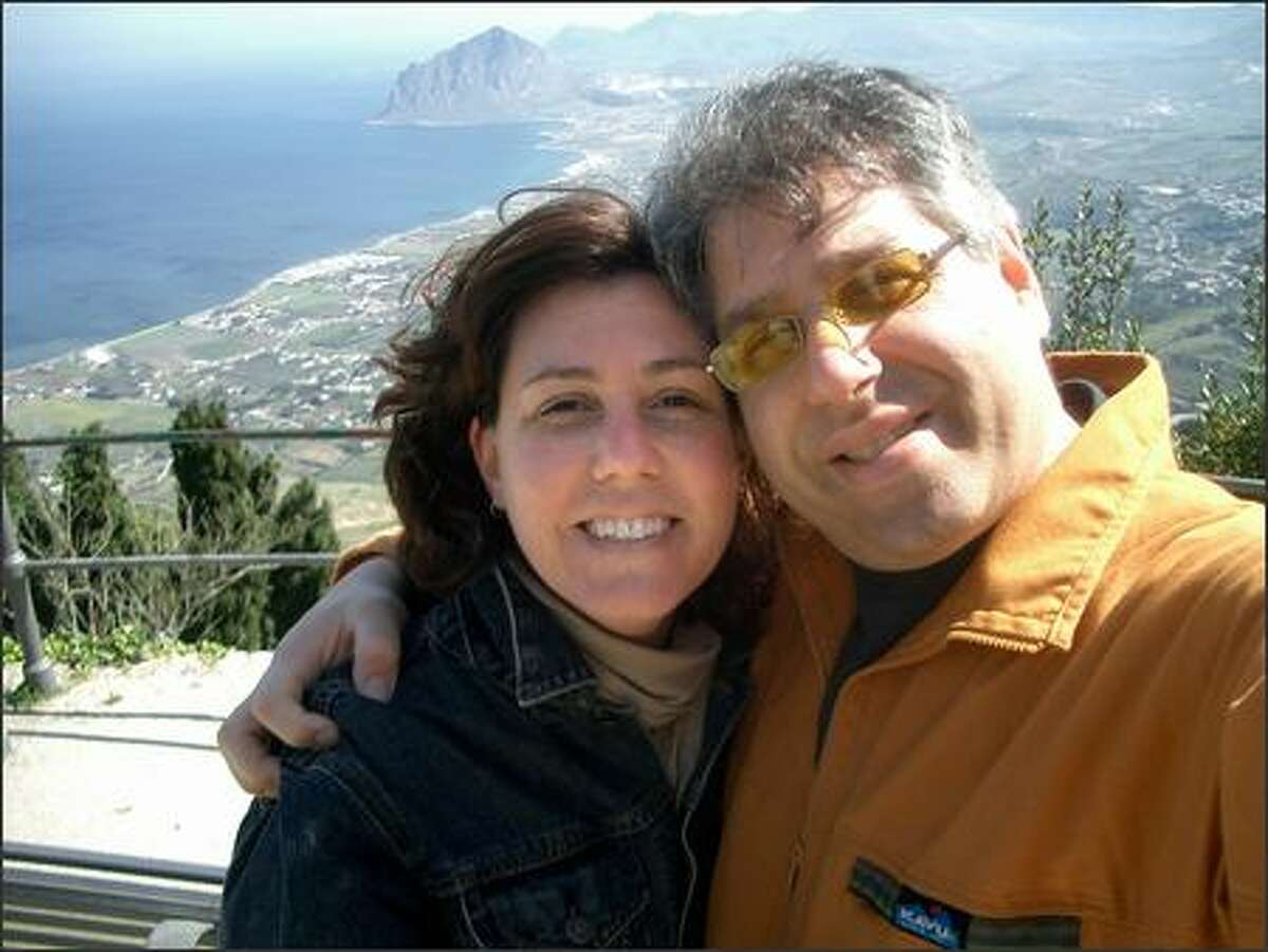 """Dayna and Erez Klein in Erice, Sicily, in April. Klein said her husband, her baby and her family were all she could think about when she was shot and """"sank to the ground like a rag doll."""""""