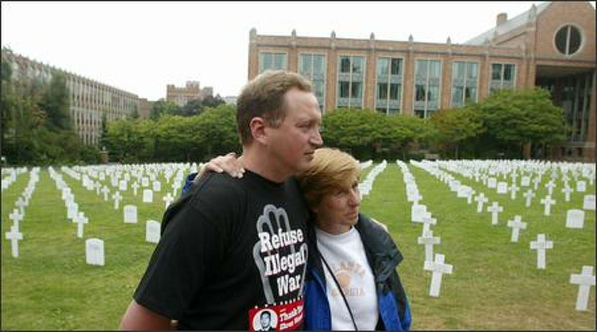 Anti-war activists Cindy Sheehan and Jeff Paterson at the Veterans for Peace convention at the University of Washington.